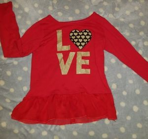 Red and gold LOVE long sleeve top